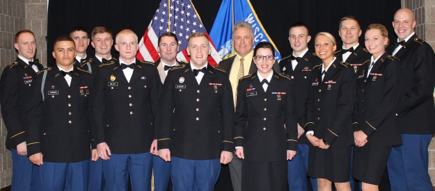 2015 ROTC Northwoods Battalion Military, Friday, Feb. 20, 2015.  Chancellor Meyer, Lieutenant Colonel Pindell, and seniors and juniors in the Military Science Leadership classes.