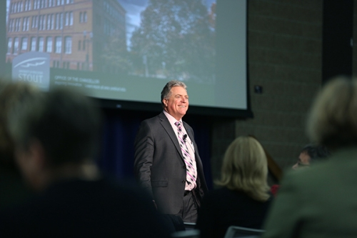Chancellor Bob Meyer holds a forum on the proposed state budget cuts Wednesday, February 25, 2015 in the Great Hall of the Memorial Student Center. Seventy-one people attended the budget forum, with 125 more viewing it live online. (UW-Stout photo by Brett T. Roseman)
